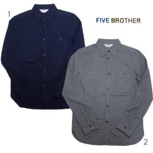 ファイブブラザー メンズ ライトフランネルワークシャツ 無地 日本製 FIVE BROTHER ネルシャツ|usual