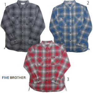 ファイブブラザー メンズ ライトフランネルワークシャツ オンブレ チェック FIVE BROTHER ネルシャツ|usual
