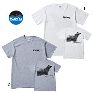 KAVU カブー メンズ ベア 熊 プリント Tシャツ TEE 缶バッチ付き usual