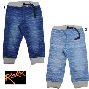 ROKX×roial ロックス×ロイアル リブデニムパンツ 柄物 RXMS7502 デニム クロップドパンツ 7分丈パンツ メンズ|usual