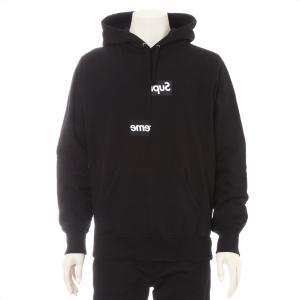 シュプリームxコムデギャルソン コットン パーカー S メンズ ブラック 18AW Split Box Logo Hooded Sweat Shirt|usus