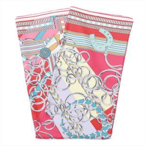 エルメス カレ90 スカーフ シルク レッド Brides et Gris-Gris(馬勒とチャーム...