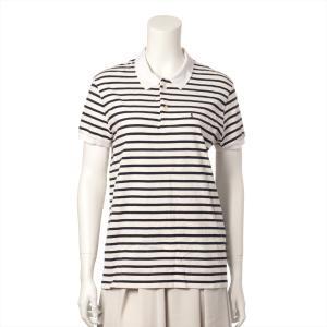 サンローランパリ コットン ポロシャツ M メンズ ホワイト ボーダー|usus