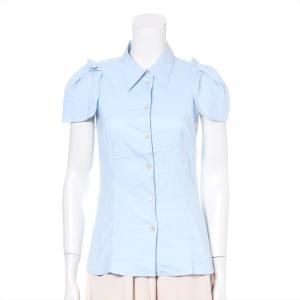 プラダ コットン シャツ 42 レディース ライトブルー タグ&予備ボタン付き|usus