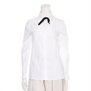 サンローランパリ コットン ブラウス レディース ホワイト タイ付き フリル|usus