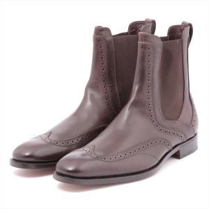フェラガモ レザー ブーツ 9 メンズ ブラウン サイドゴア|usus