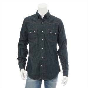 サンローランパリ コットン シャツ サイズM メンズ ブルー|usus