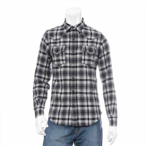サンローランパリ ウール シャツ XS メンズ ブラック チェックシャツ|usus
