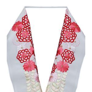 豪華な刺繍でお顔周りをドレスアップ utatane 高級刺繍半衿 鞠と梅 ラベンダーピンク系 半襟 半衿 はんえり 白 振袖