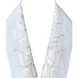 豪華な刺繍でお顔周りをドレスアップ utatane 高級刺繍半衿 八重桜 ピンク白系 半襟 半衿 はんえり 白 振袖 成人式