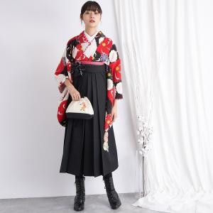 レンタル 袴セット 卒業式 2尺袖着物 袴16点セット JAPANSTYLE×中村里砂 紅白と黒の菊 うたたね 着物と袴以外はおまかせコーデの画像