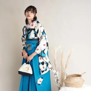 レンタル 袴セット 卒業式 2尺袖着物 袴16点セット 九重 ターコイズの椿づくし うたたね 着物と袴以外はおまかせコーデの画像