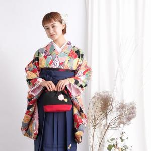 レンタル 袴セット 卒業式 2尺袖着物 袴16点セット 赤ミント菊 うたたね 着物と袴以外はおまかせコーデの画像
