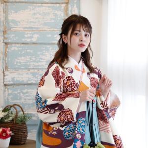 レンタル 袴セット 卒業式 2尺袖着物 袴16点セット 紫とからしのモダン流水 utatane 05