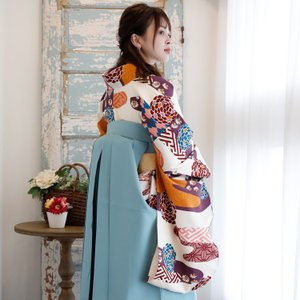レンタル 袴セット 卒業式 2尺袖着物 袴16点セット 紫とからしのモダン流水 utatane 06