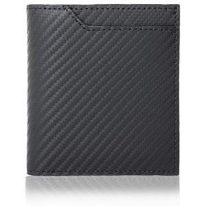 ゲーネン 二つ折り 財布 ボックス型 小銭入れ 本革 メンズ (ブラック)