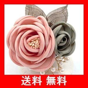Amalet Roses 2輪 ローズ パール リーフ コサージュ 葉っぱ フォーマル 母の日 卒業式 入学式 卒園式 結婚式|utidenokozuchi