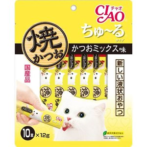 いなば 焼かつお ちゅーるタイプ(ちゅ〜るタイプ) かつおミックス味 12g×10 (猫 おやつ/キャットフード/猫用おやつ/猫のおやつ/猫のオヤツ/ねこのおやつ)|utopia-y