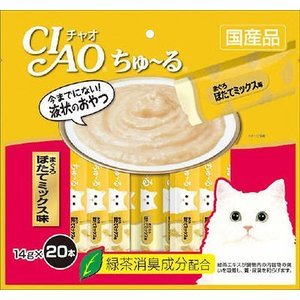 いなば チャオ ちゅーる(ちゅ〜る)まぐろ ほたてミックス味 14g×20本(キャットフード/猫用おやつ/猫のおやつ・猫のオヤツ・ねこのおやつ)|utopia-y
