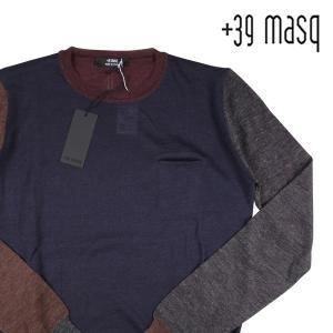 +39 masq 丸首セーター メンズ 秋冬 L/48 ネイビー 紺 マスク 並行輸入品|utsubostock