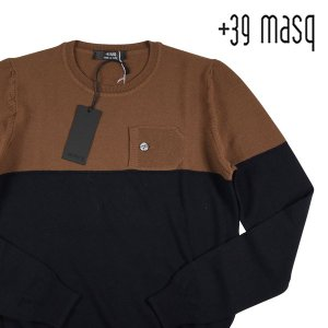 +39 masq 丸首セーター メンズ 秋冬 S/44 ネイビー 紺 マスク 並行輸入品|utsubostock