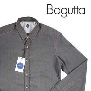 【M】 Bagutta バグッタ デニムシャツ メンズ グレー 灰色 並行輸入品 デニム|utsubostock