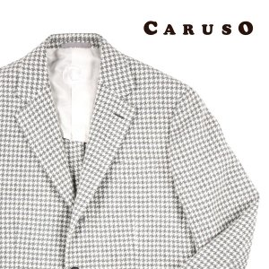 【48】 CARUSO カルーゾ ジャケット メンズ 秋冬 千鳥 ホワイト 白 並行輸入品 アウター トップス|utsubostock