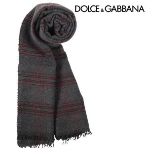 Dolce&Gabbana カシミヤ混 チェック マフラー GQ201EG2M24 dark gray【W11169】|utsubostock