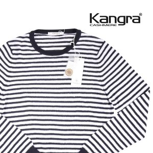 【46】 Kangra カングラ 丸首セーター メンズ 春夏 ボーダー ネイビー 紺 並行輸入品 ニット|utsubostock