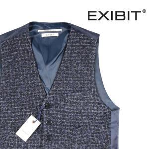 【S】 EXIBIT エグジビット ジレ メンズ 秋冬 チェック ネイビー 紺 並行輸入品 ベスト|utsubostock