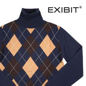 【S】 EXIBIT エグジビット タートルネックセーター メンズ 秋冬 ネイビー 紺 並行輸入品 ニット|utsubostock