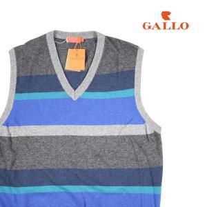 GALLO ベスト メンズ 秋冬 M/46 ブルー 青 カシミヤ混 ガロ 並行輸入品|utsubostock