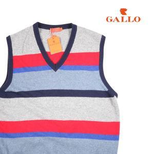 【M】 GALLO ガロ ベスト メンズ 秋冬 カシミヤ混 ボーダー レッド 赤 並行輸入品|utsubostock