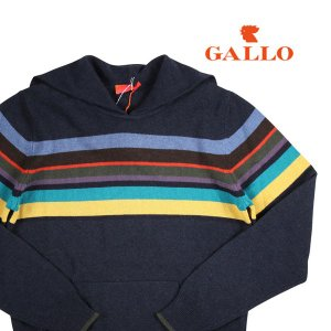 【S】 GALLO ガロ 丸首セーター メンズ 秋冬 カシミヤ混 ボーダー ネイビー 紺 並行輸入品 ニット|utsubostock