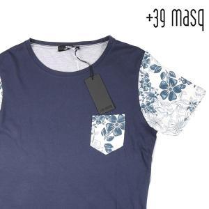 【S】 +39 masq マスク Uネック半袖Tシャツ メンズ 春夏 花柄 ネイビー 紺 並行輸入品 トップス|utsubostock