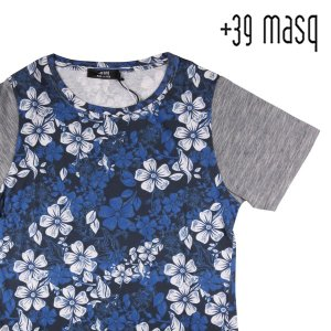 【XL】 +39 masq マスク Uネック半袖Tシャツ メンズ 春夏 花柄 ブルー 青 並行輸入品 トップス|utsubostock