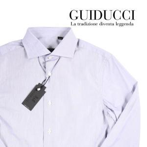 GUIDUCCI ストライプ 長袖シャツ GU0007 gray 43 12549【A12558】 グイドゥッチ|utsubostock