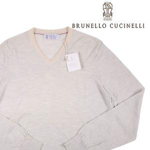 BRUNELLO CUCINELLI カシミヤ混 Vネックセーター CE769 light gray 46【A12963】 utsubostock