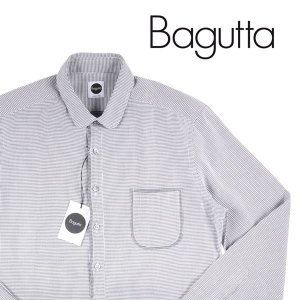 Bagutta 長袖シャツ ROMEOC03108 white x black 40【A13188】|utsubostock