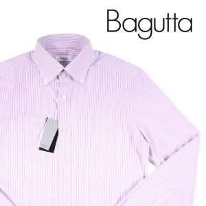 Bagutta ストライプ 長袖シャツ 0B140L03916 pink×gray 37【A13208】|utsubostock