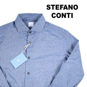 stefano conti 長袖シャツ メンズ 42/2XL ネイビー 紺 ステファノ・コンティ 大きいサイズ 並行輸入品|utsubostock