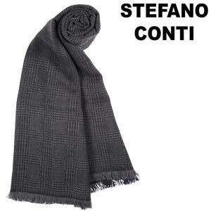 stefano conti ステファノ・コンティ ストール メンズ チェック ネイビー 紺 並行輸入品|utsubostock