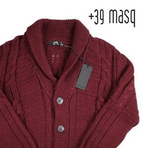 +39 masq カーディガン メンズ 秋冬 L/48 レッド 赤 マスク 並行輸入品|utsubostock