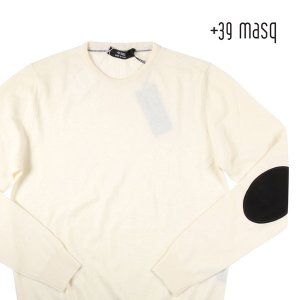 【XXXL】 +39 masq マスク 丸首セーター メンズ 秋冬 ホワイト 白 並行輸入品 ニット 大きいサイズ|utsubostock