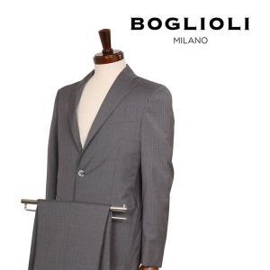 【42】 BOGLIOLI ボリオリ スーツ T29W2E メンズ 春夏 ヴァージンウール100% ストライプ グレー 灰色 並行輸入品|utsubostock