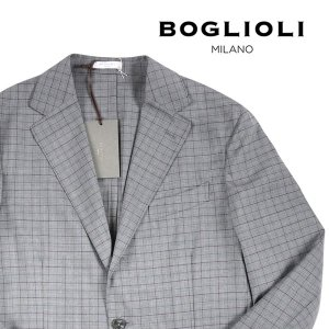 BOGLIOLI ヴァージンウール100% チェック ジャケット X2902E gray 44 13752【S13752】 ボリオリ|utsubostock