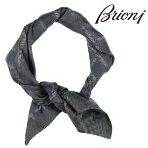 Brioni ストール メンズ グリーン 緑 シルク100%  ブリオーニ 並行輸入品|utsubostock