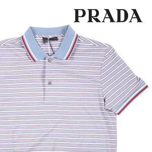 【S】 PRADA プラダ 半袖ポロシャツ UJN138 メンズ 春夏 ボーダー ブルー 青 並行輸入品 トップス|utsubostock