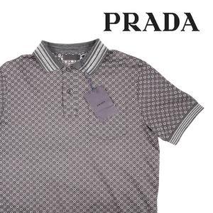 【S】 PRADA プラダ 半袖ポロシャツ UJN142 メンズ 春夏 グレー 灰色 並行輸入品 トップス|utsubostock