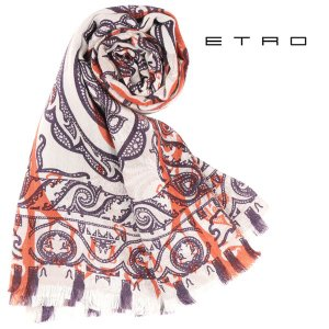 ETRO シルク混 ペイズリー ストール DHELY multicolored【A14370】_irbr|utsubostock
